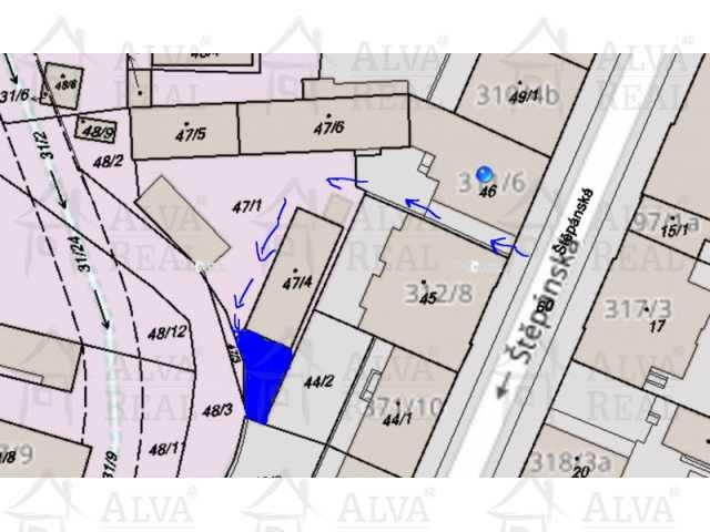 Situační mapka pronajatého pozemku a přístupu k němu
